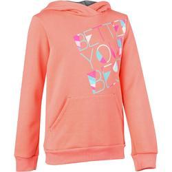 500 女童連帽健身運動衫 - 印花橙色