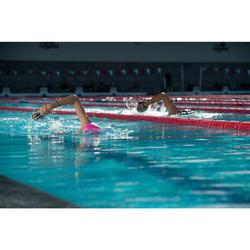 Schwimmpaddles 500 Gr. M mit Riemen aus Silikon grau