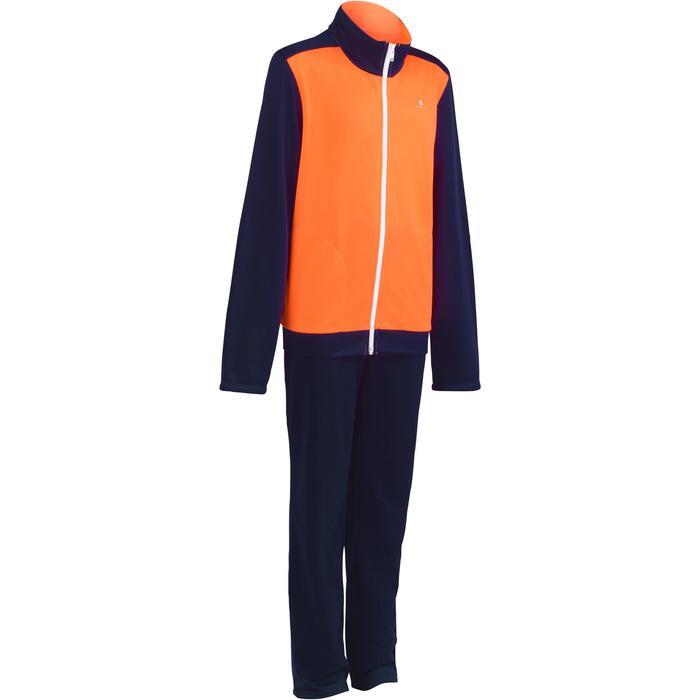 Warm meisjes trainingspak met rits Energy Gym'y voor gym oranje/blauw