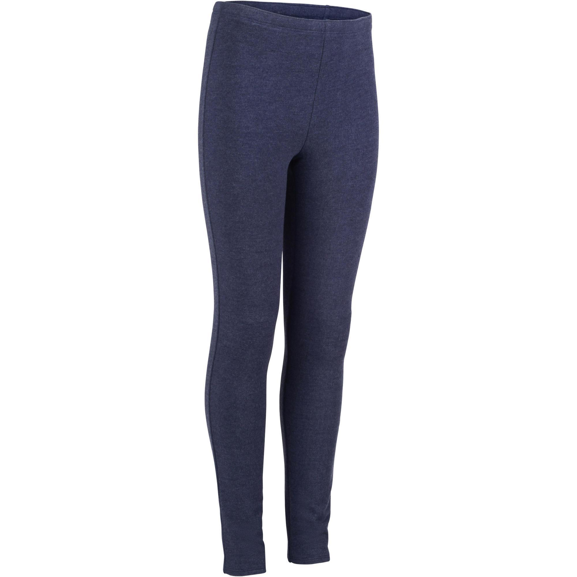 696c4f1a89b62 100 Girls' Warm Gym Leggings - Blue | Domyos by Decathlon