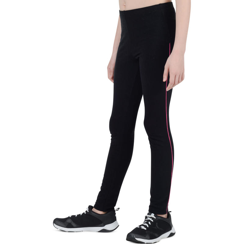 100 Girls' Warm Gym Leggings - Black