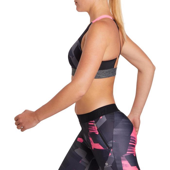 Brassière fitness cardio femme imprimés géométriques noirs 500 Domyos - 1204879