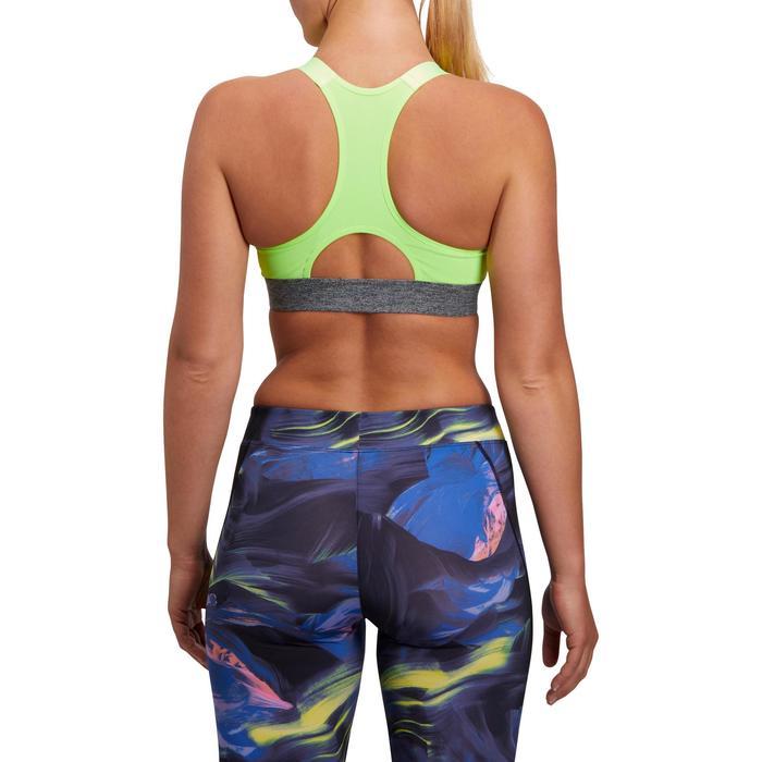 Brassière fitness cardio femme imprimés géométriques noirs 500 Domyos - 1204885