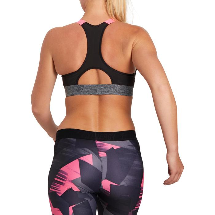 Brassière fitness cardio femme imprimés géométriques noirs 500 Domyos - 1204917