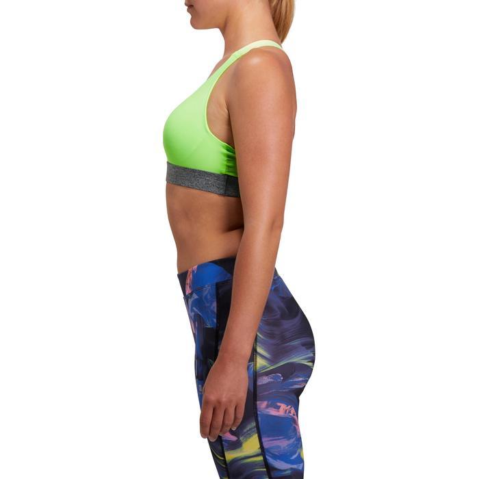 Brassière fitness cardio femme imprimés géométriques noirs 500 Domyos - 1204967