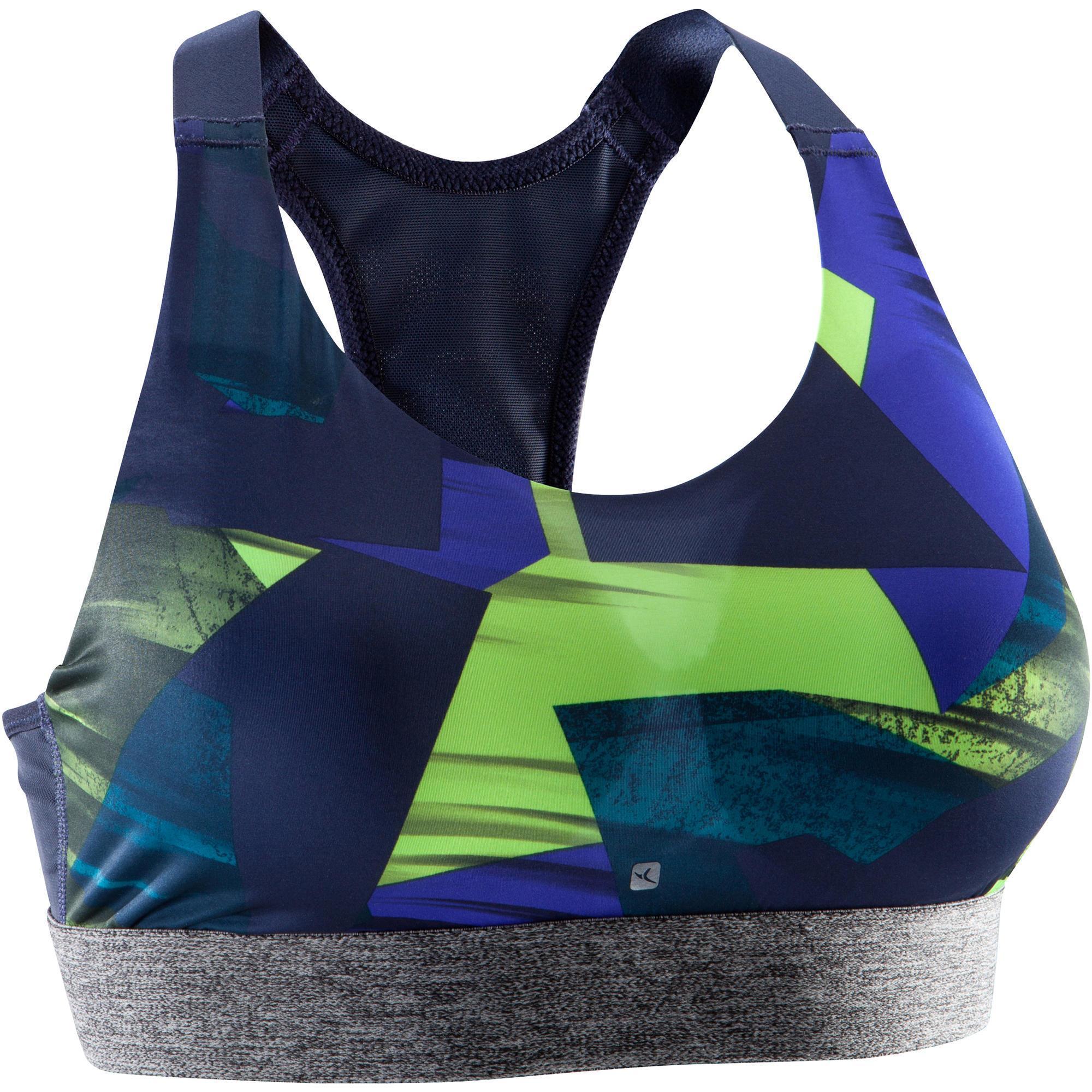 Brassi re fitness cardio femme imprim bleu jaune energy - Petit trampoline decathlon ...