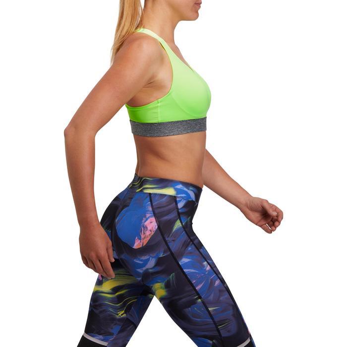 Brassière fitness cardio femme imprimés géométriques noirs 500 Domyos - 1204996