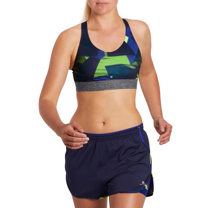 Brassière fitness cardio femme imprimés géométriques noirs 500 Domyos - 1204999