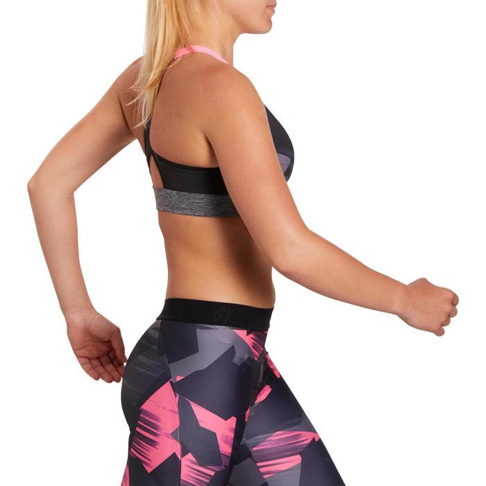 Brassière fitness cardio femme imprimés géométriques noirs 500 Domyos - 1205002