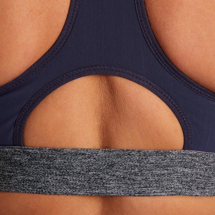 Brassière fitness cardio femme imprimés géométriques noirs 500 Domyos - 1205005