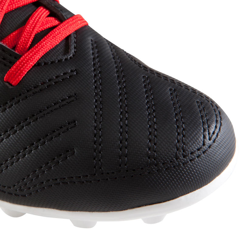 Chaussure de football enfant terrain sec Agility 100 FG noire blanche