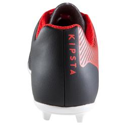 Botas Fútbol Kipsta Agility 100 FG Terrenos Secos Niño Negro Rojo