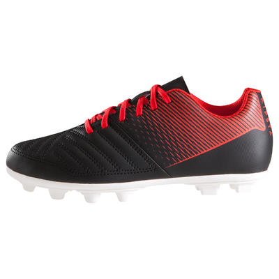 حذاء طويل Agility 100 لكرة القدم بالملاعب الجافة، للأطفال - لون أسود/ أبيض