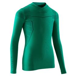 Camiseta térmica de fútbol de manga larga júnior Keepdry 500 verde esmeralda