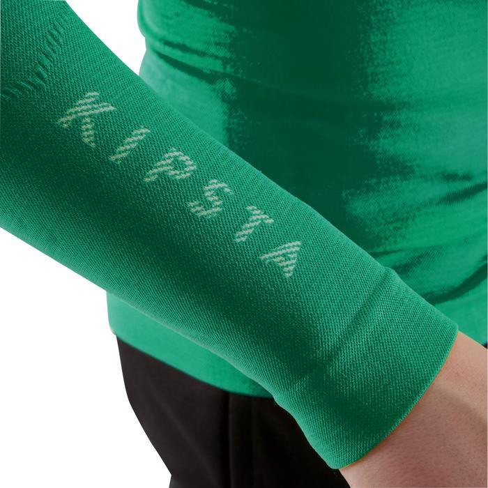 Camiseta térmica transpirable manga larga niños Keepdry 500 verde esmeralda