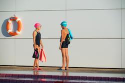 Complete zwemset Leony+ voor meisjes blauw/roze - 1205519