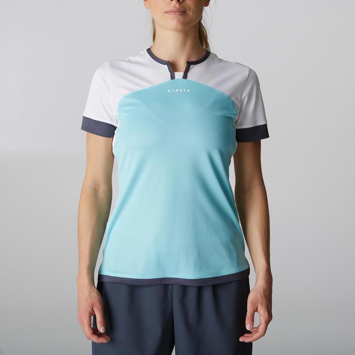 Camiseta Manca Corta Fútbol Kipsta F500 Mujer Blanco Menta