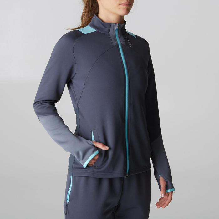 Veste d'entraînement de football femme T500 grise menthe - 1205608