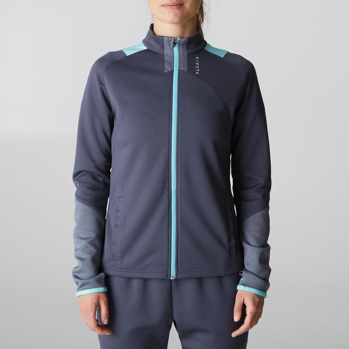 Veste d'entraînement de football femme T500 grise menthe - 1205610