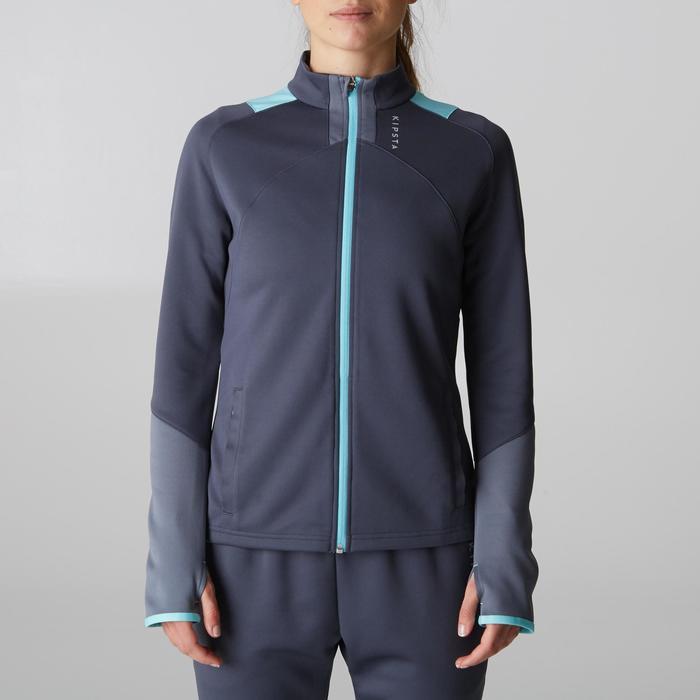 Veste d'entraînement de football femme T500 grise menthe - 1205618