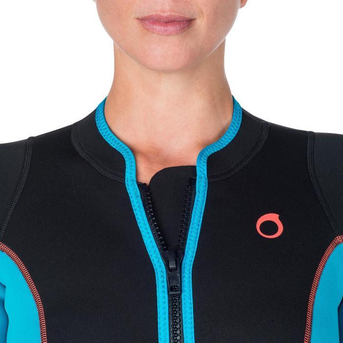 Combinaison intégrale de snorkeling femme 2mm noire turquoise - 1205802