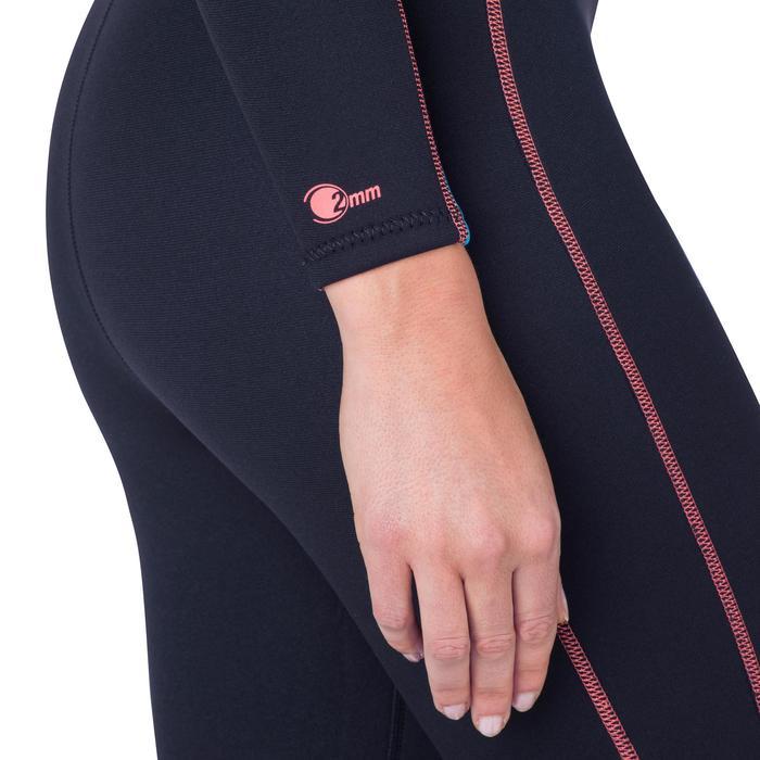 Combinaison intégrale de snorkeling femme 2mm noire turquoise - 1205804