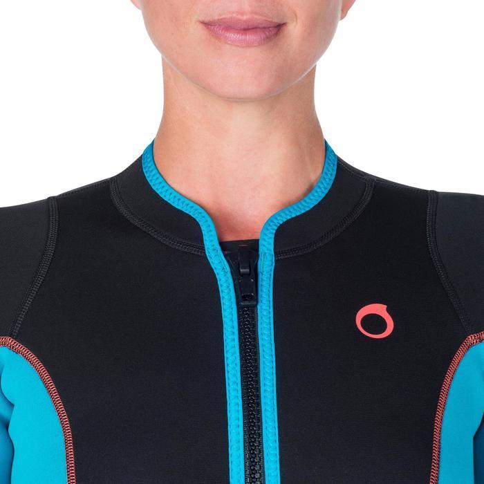 Combinaison intégrale de snorkeling femme 2mm noire turquoise - 1205807