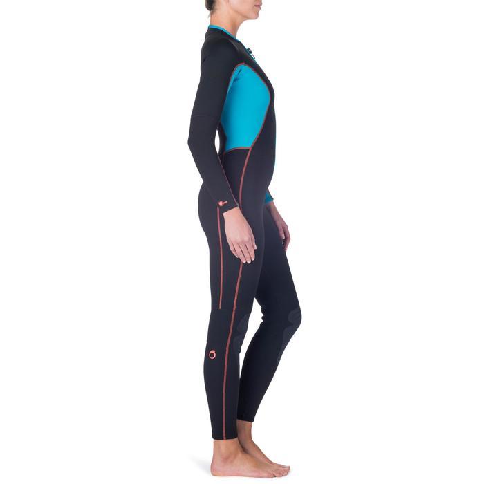 Combinaison intégrale de snorkeling femme 2mm noire turquoise - 1205810