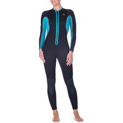 Dames fullsuit voor snorkelen 2 mm zwart/turquoise - 1205831