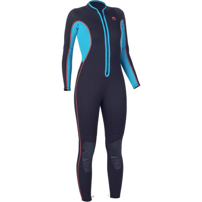 Combinaison intégrale de snorkeling femme 2mm noire turquoise - 1205835