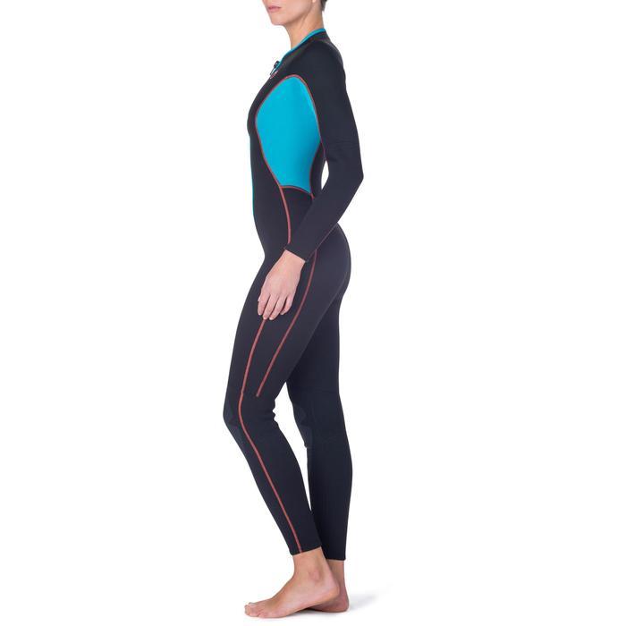 Combinaison intégrale de snorkeling femme 2mm noire turquoise - 1205844
