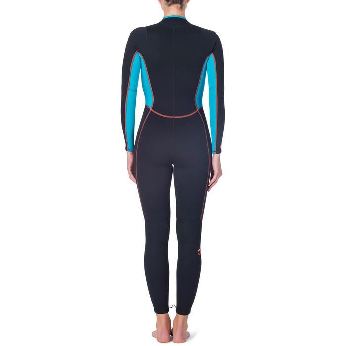 Combinaison intégrale de snorkeling femme 2mm noire turquoise