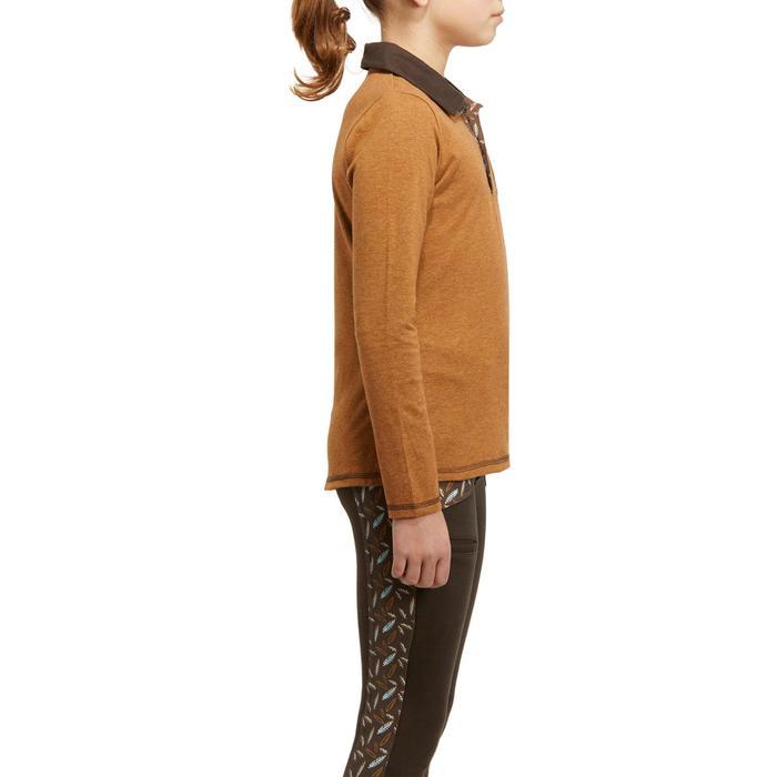 Meisjespolo met lange mouwen ruitersport camel zakje print met veer