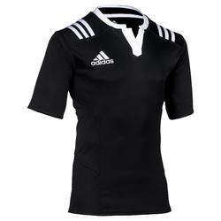 Camiseta rugby adulto Adidas 3F negro blanco