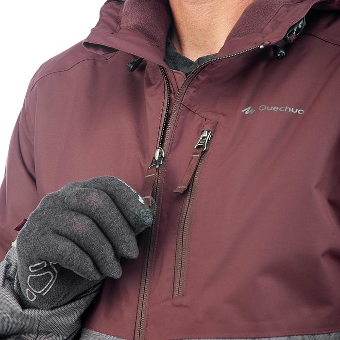 Veste de randonnée neige homme SH100 x-warm bourgogne
