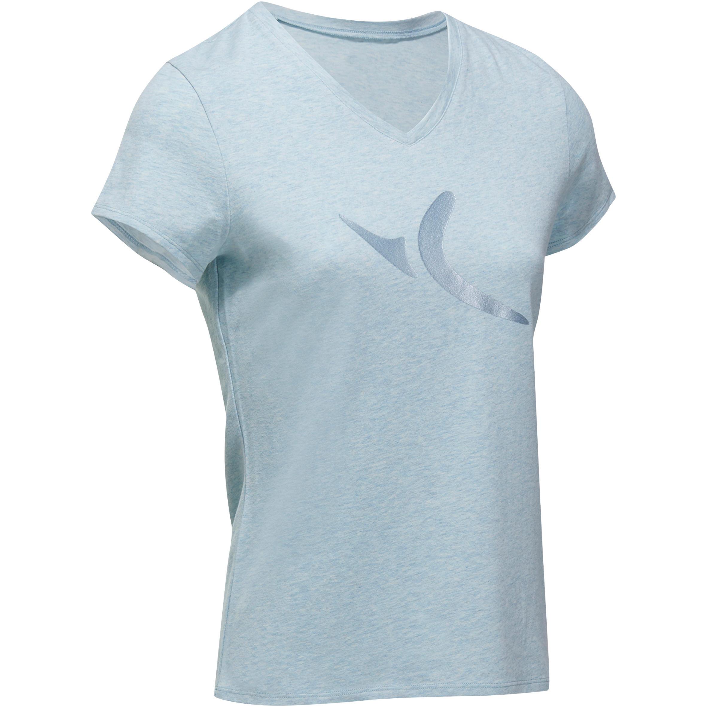 Domyos Dames T-shirt met korte mouwen voor gym en pilates gem�leerd
