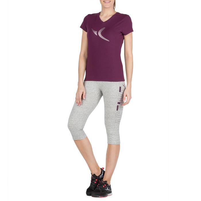 Dames T-shirt met korte mouwen voor gym en pilates gemêleerd - 1206507
