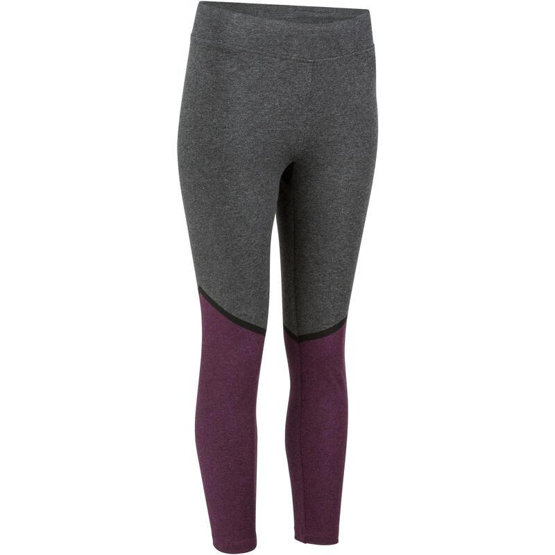 Legging 7/8 slim Gym & Pilates femme bicolore bordeaux gris FIT+