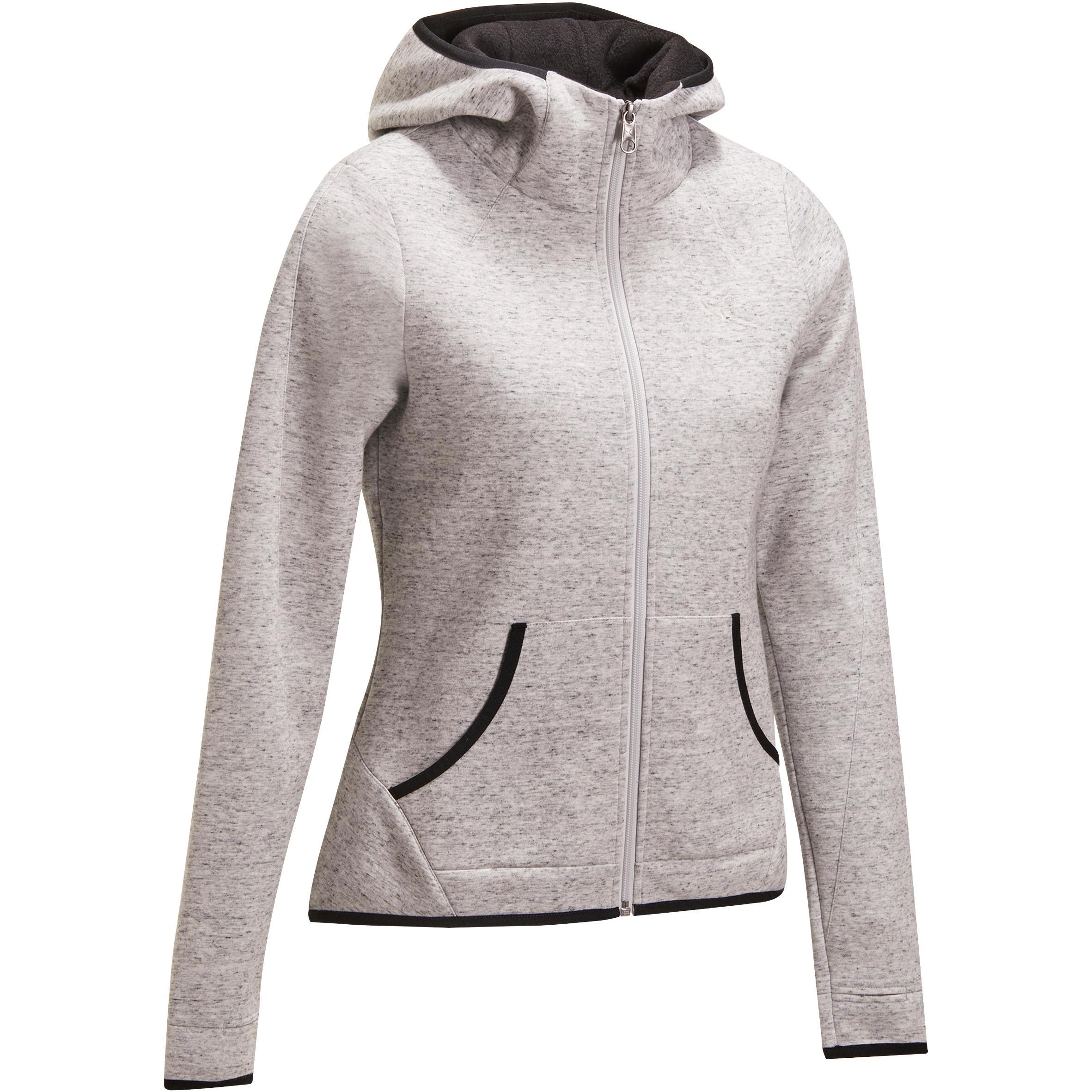 Domyos Fitness hoodie met rits voor dames