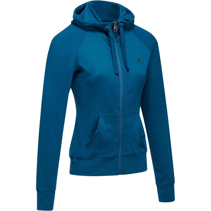 5a9950cc6c0 Women s Gym   Pilates Hooded Zip-up Jacket - Duck Blue