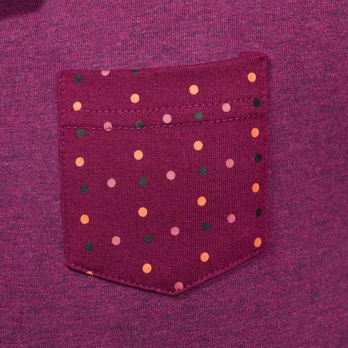 Meisjespolo met lange mouwen ruitersport paars zakje stipjesprint