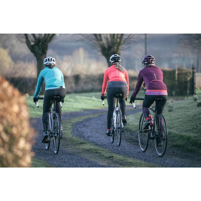 Lange Radhose Rennrad 500 Damen schwarz/violett