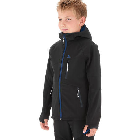 KIDS' SOFTSHELL HIKING JACKET MH550 7-15 YEARS - BLACK