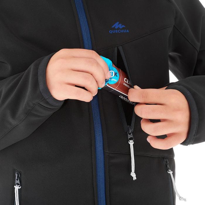 Chaqueta Softshell de senderismo júnior MH550 Negro Azul 7-15 años