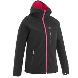 Softshell wandeljas voor kinderen MH500 zwart en roze 7-15 jaar