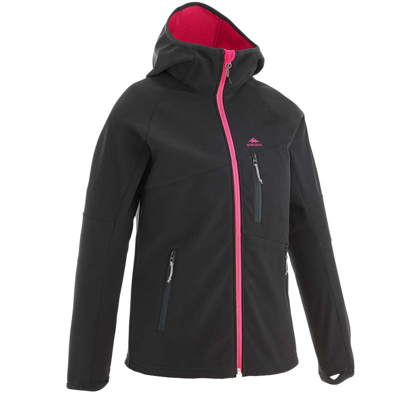 FLEECE PADDED & SOFTHELL JKT GIRL 7-15 Y Hiking - Kids' Soft Jacket MH550 - Pink QUECHUA - Hiking Clothes