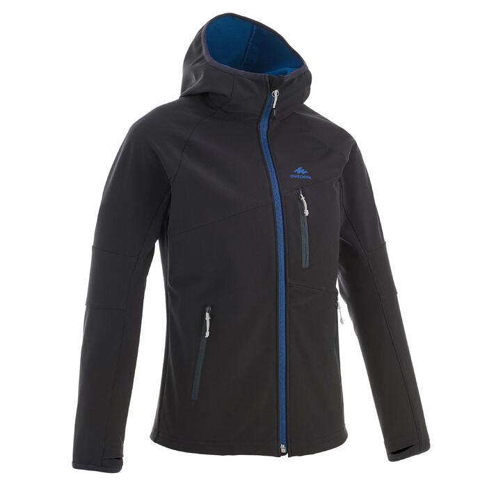 7至15歲兒童款軟殼健行外套MH550-黑色/藍色