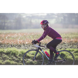 Lange fietsbroek 500 voor dames zwart / paars