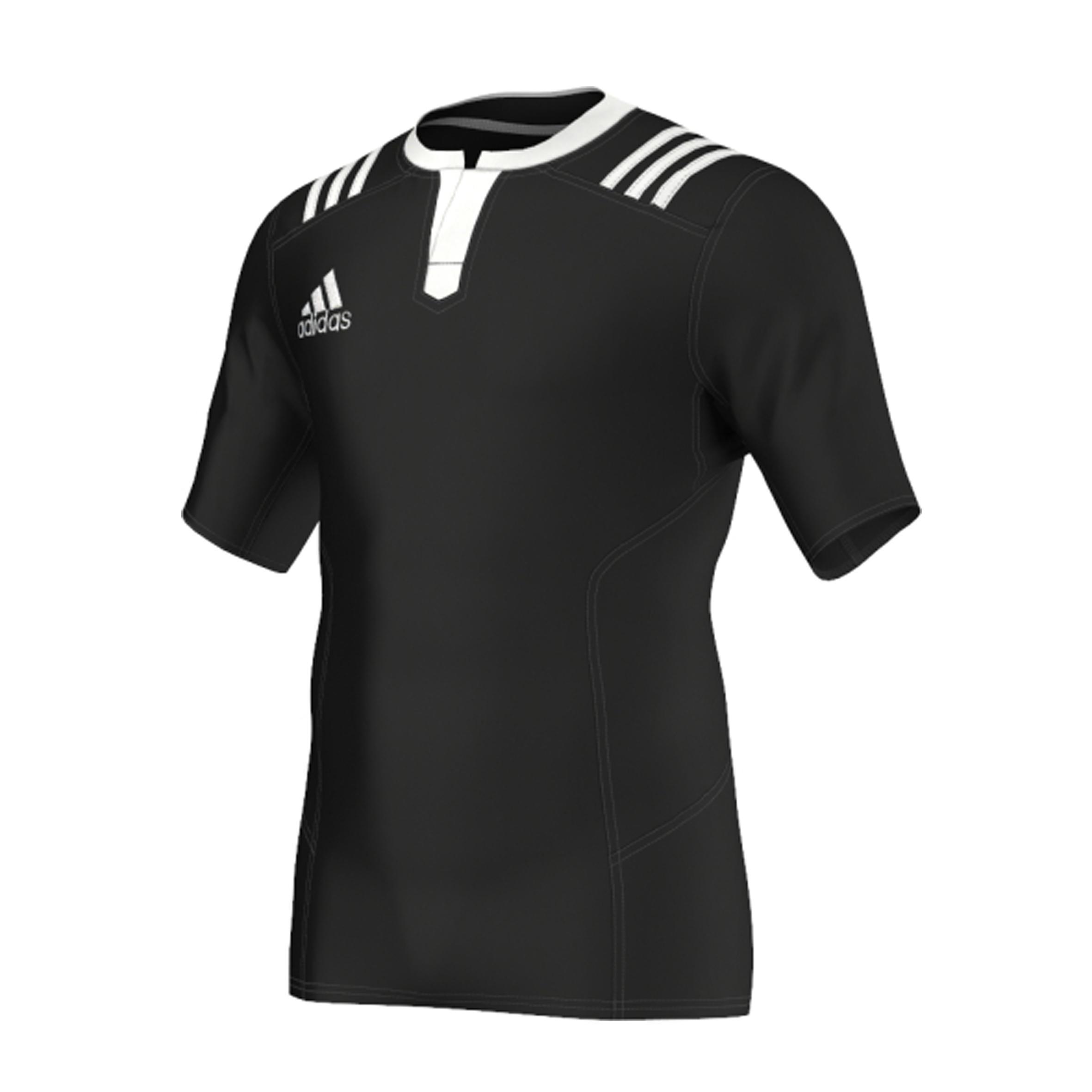 Rugbyshirt voor volwassenen 3S zwart