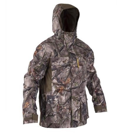 HUNTING WARM WATERPROOF JACKET 500 - CAMOUFLAGE BROWN
